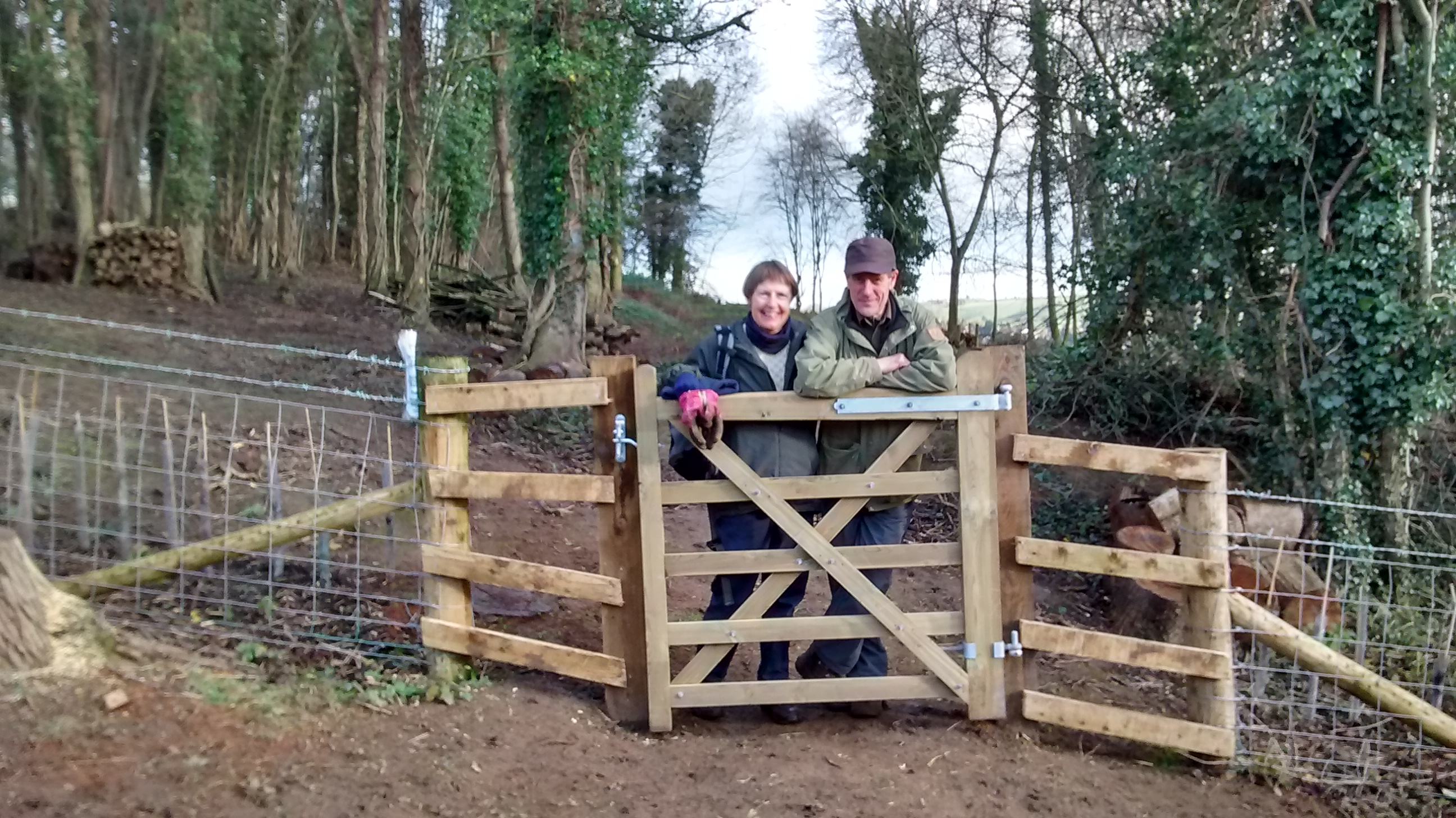 Newly completed fencing and gate at Elliker Wood, East Keswick